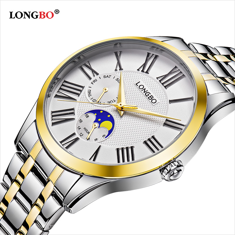 Longbo Quartz Watch Lovers Watches Women Men Couple Analog Full Stainless Steel Business Wristwatches Fashion Casual Gold 1/pcs
