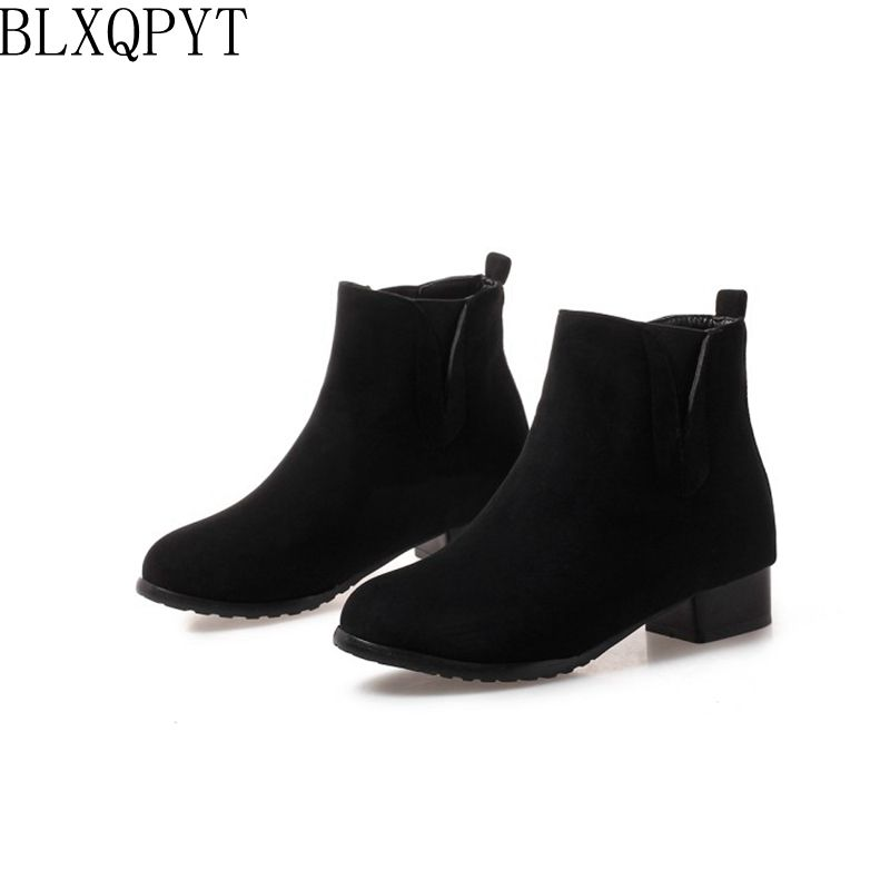 BLXQPYT Big Size 32-47 ankle Boots for Women Low Heels Short boots Winter Shoes Woman Round Toe Platform short Boots 218-21 enmayer bling platform shoes woman round toe ankle boots for women high heels zippers white shoes plus size 34 47 winter boots