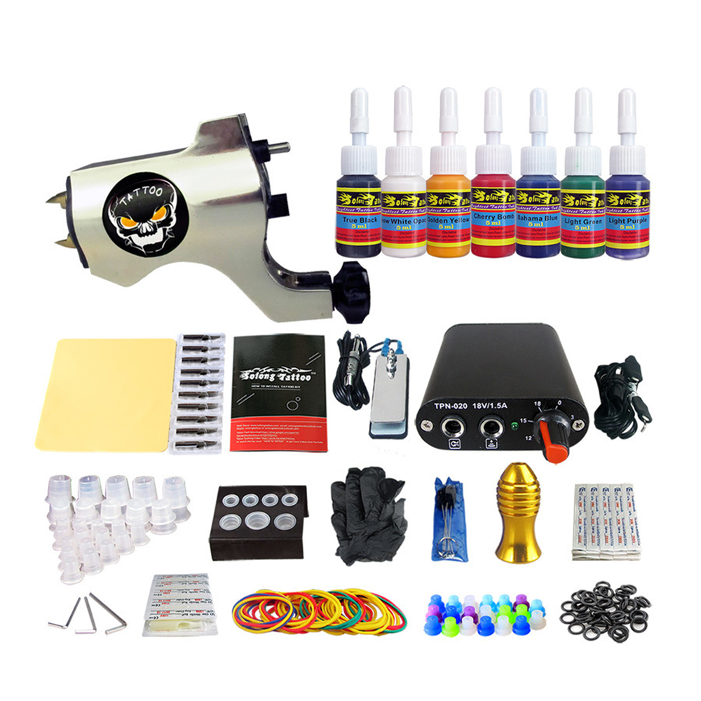2017 Newest Cosmetics Tattoo Set with 1 Rotary Tattoo Machine 7 Colors Ink Complete Tattoo Kit With Tattoo needles Power Supply2017 Newest Cosmetics Tattoo Set with 1 Rotary Tattoo Machine 7 Colors Ink Complete Tattoo Kit With Tattoo needles Power Supply