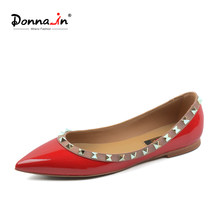 ba6c9f638 Donna-in/2018 женские красные туфли из лакированной кожи на плоской подошве  с острым