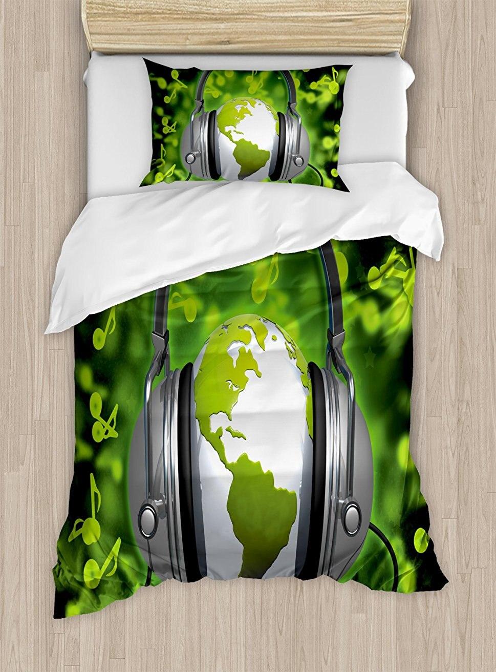 Мир постельное белье мир музыки тематические состав DJ наушники музыкальные ноты и земной шар 4 шт. Постельное белье