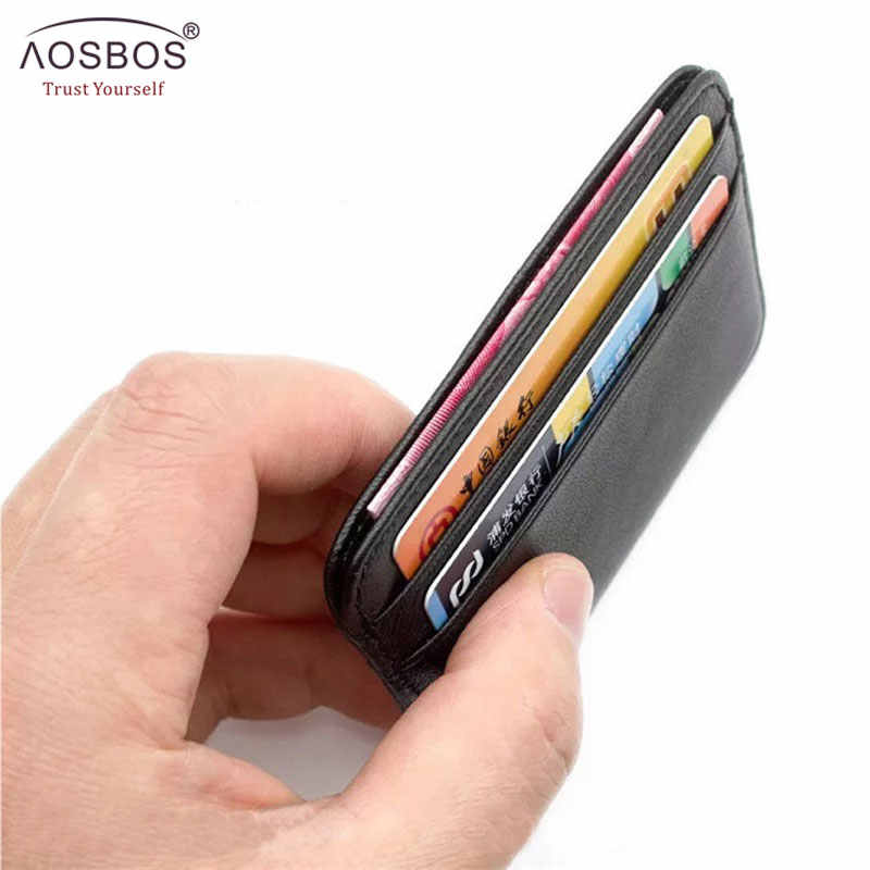 Aosbos Super Slim Soft Wallet 100% Sheepskin Genuine Leather Mini Credit Card Wallet Purse ID Card holders for Men Thin Small