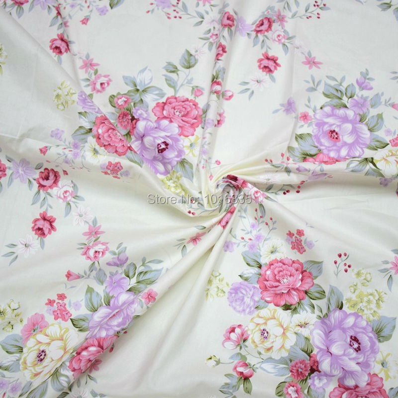 Chic Blue Beige Cotton Linen Plaid Curtains For Boys Bedroom: 2016 100% Cotton Beige Fabric With Chic Pink Roses Printed