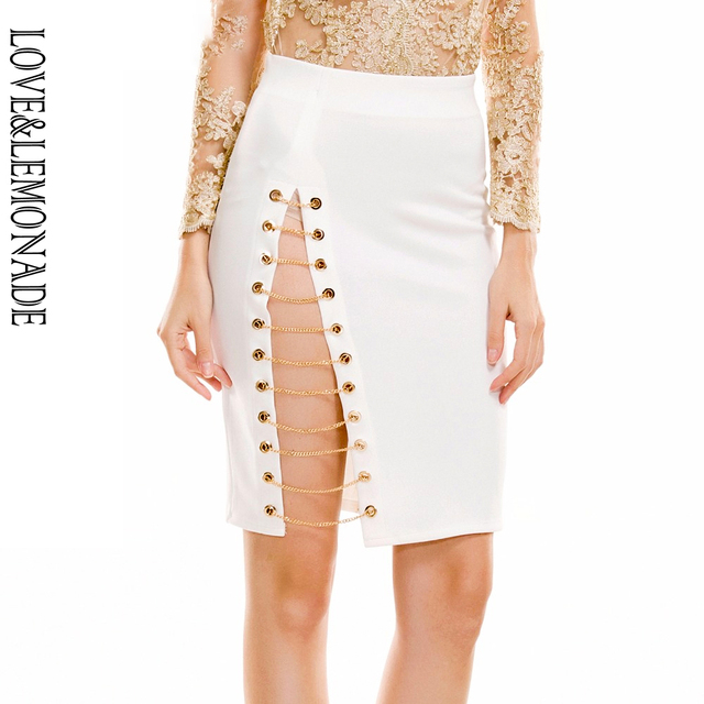 ed921c3dde Love&Lemonade Gold Chain Cut Out Slim Skirt TB 9186-in Skirts from ...