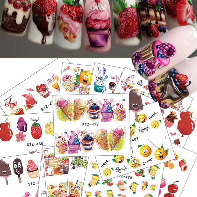18pcs 2017 Hot Cake/Ice Cream Nail Sticker Mixed Colorful Designs Women Makeup Water Tattoos Nail Art Decals CHSTZ471-488
