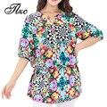 2017 Estilo Popular Colorido Design Floral Da Forma Das Mulheres Chiffon Blusa Plus Size L-4XL Qualidade Super Senhora Camisas de Vestido