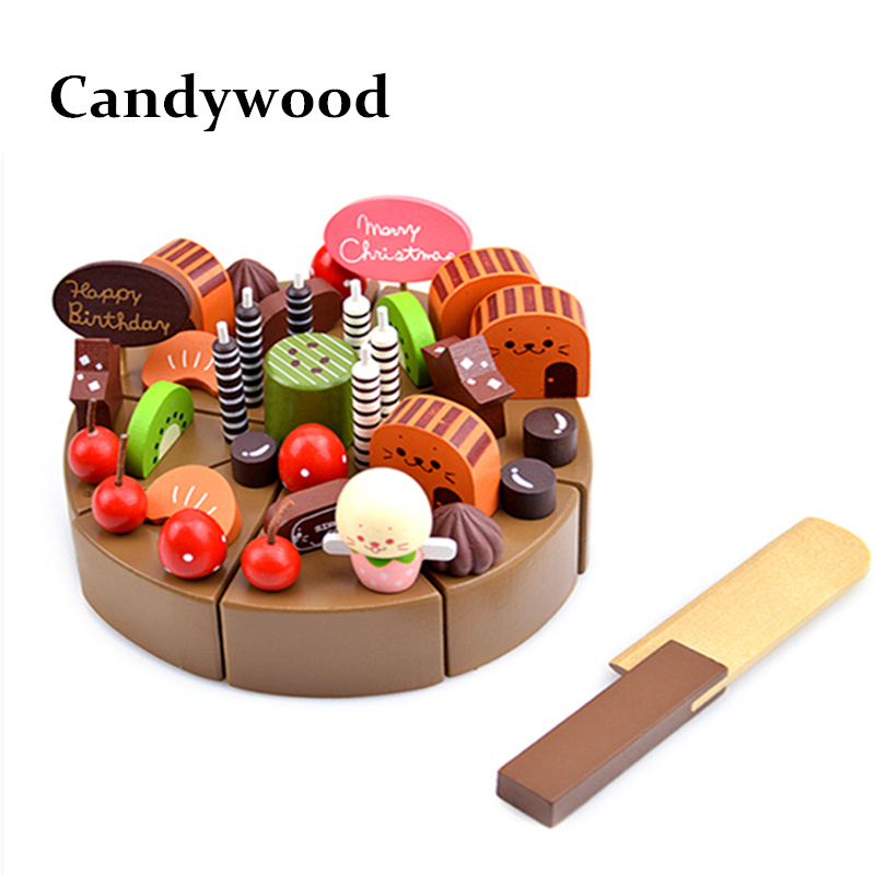 Kids kitchen Toys Chocolate Birthday Cake Children Wooden Cake food Toys Wood Puddy Pretend Toys 6pcs set movie trolls 4 3inch height figures toys cake topper kids birthday gift children funny toys