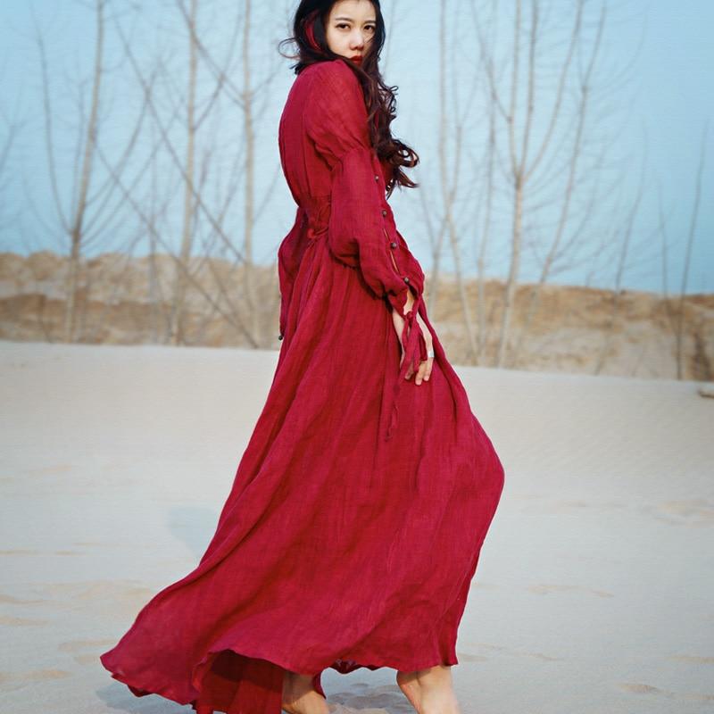 Khale Yose Autumn Bohemian Dress Long Sleeve Vintage Hippie Women Maxi Dress Boho Chic Gypsy Folk Party Beach Long Dresses 2019-in Dresses from Women's Clothing    2