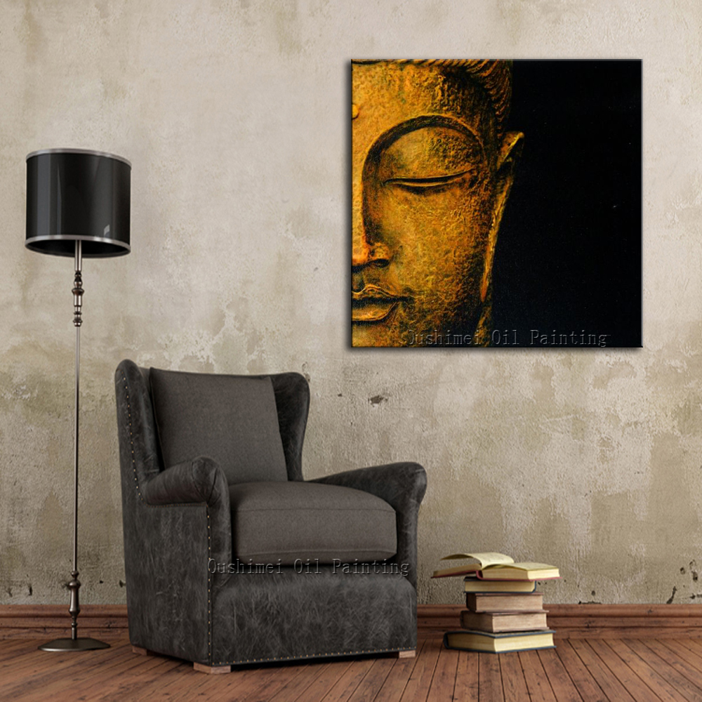 NEW Hand Painted Oil Painting Hang Wall Paintings Modern Buddha Head  Paintings Religious Canvas Painting For