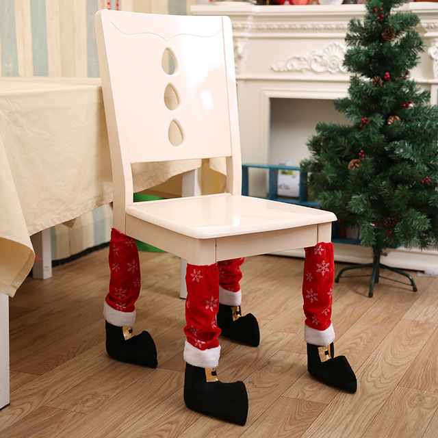 4pcs/lot Table Santa Claus Leg Chair Foot Covers Snowflake Table Decor New Year Natal Navidad Christmas Decorations For Home