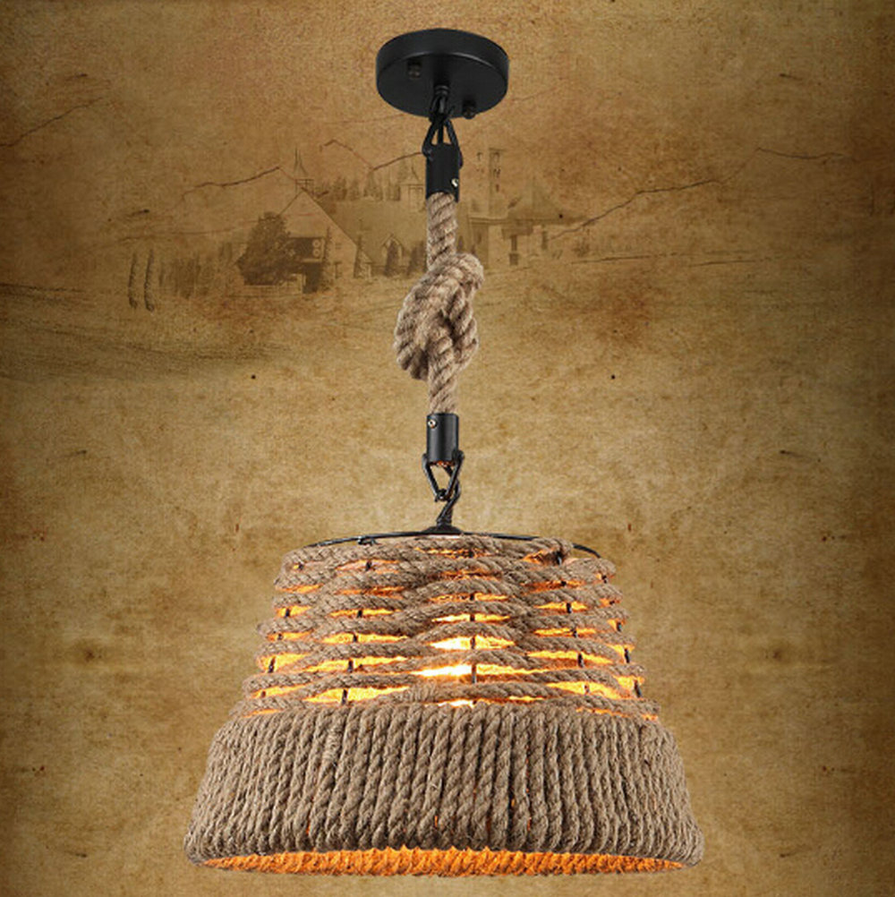 Wicker Loft Iron Rope Droplight Edison Industrial Vintage Pendant Light Fixtures For Dining Room Bar Hanging Lamp Home Lighting simple bar restaurant droplight loft retro pendant lamp industrial wind vintage iron hanging lamps for dining room