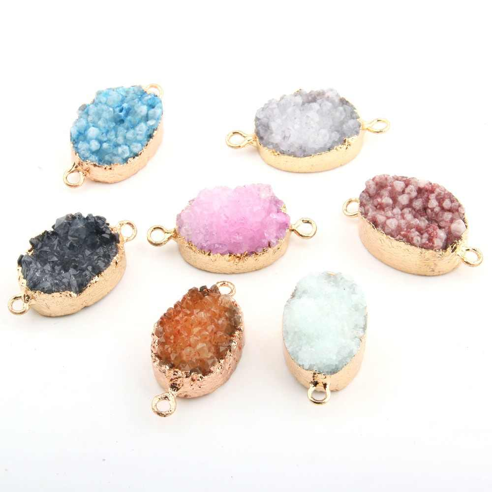 Wholesale 7 Color Crystal Natural Stone Pendant Irregular DIY for Necklace or Jewelry Making