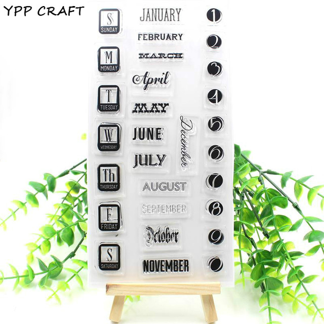 YPP CRAFT Monthly Calendar Transparent Clear Silicone Stamps for DIY