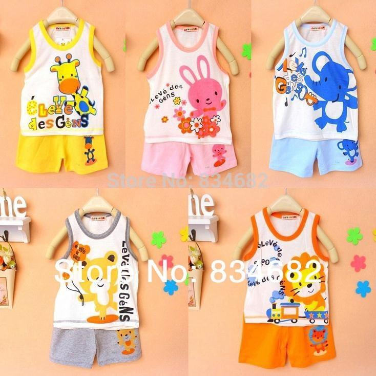 2020 Baby Set Children's Set Kid's T-shirts Girls Boys T Shirt+pants Undershirt Shorts,clothing Set,Children's Vest + Shorts