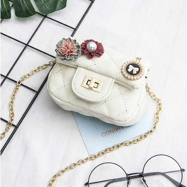 1cc2b64737e3 Cute Kid Flower Bag Princess Party Handbag Messenger Bag Children Shoulder  Bags Baby Girl Pearl Clutch Chain Bags gift