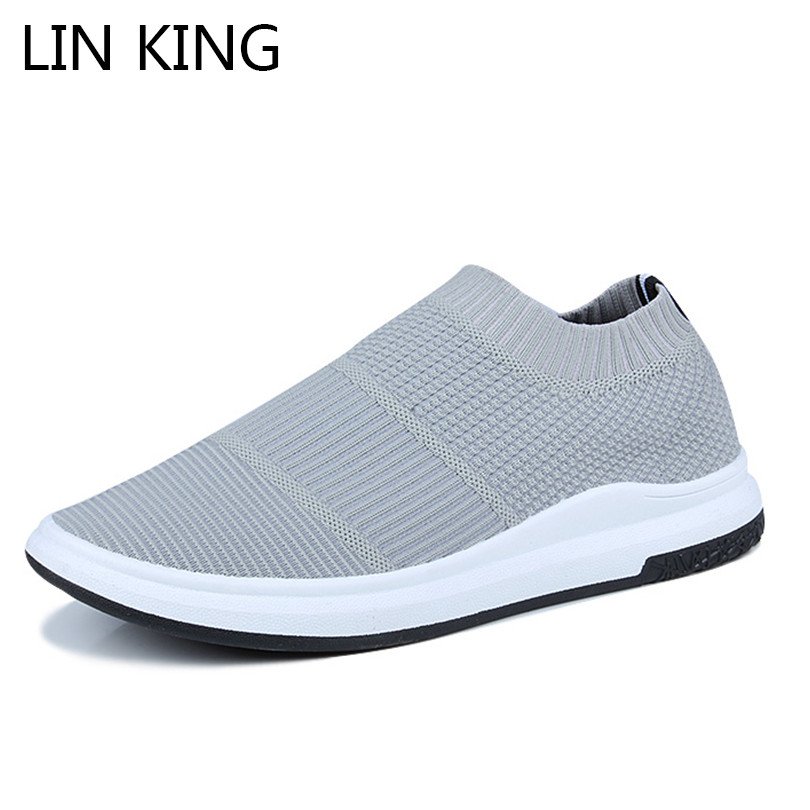 LIN KING Comfortable Men Flats Shoes Fashion Knitting Casual Shoes Slip On Lazy Loafers Spring Autumn Man Shallow Light Sneakers 2018 new men casual shoes man spring autumn loafers england fashion zapato breathable slip on flats