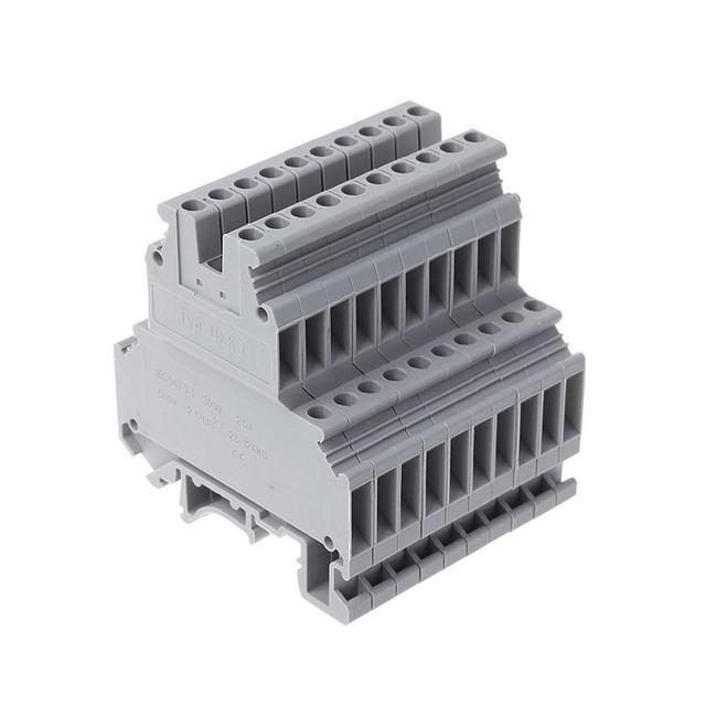 UKK3 dinレールダブルレベルデュアル行端子台 500v 25A 28 12AWGグレー 50 個