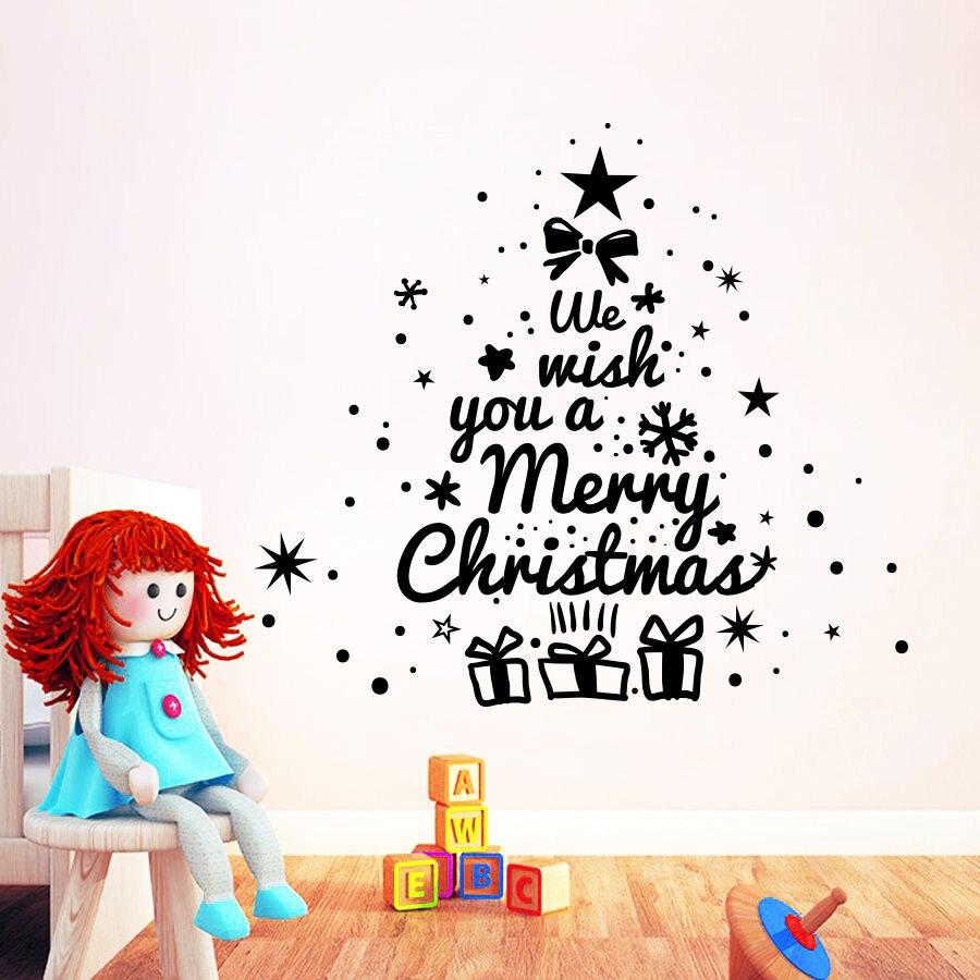 Merry Christmas Enlish Quotes Christmas Tree Wall Sticker Vinyl Wall ...