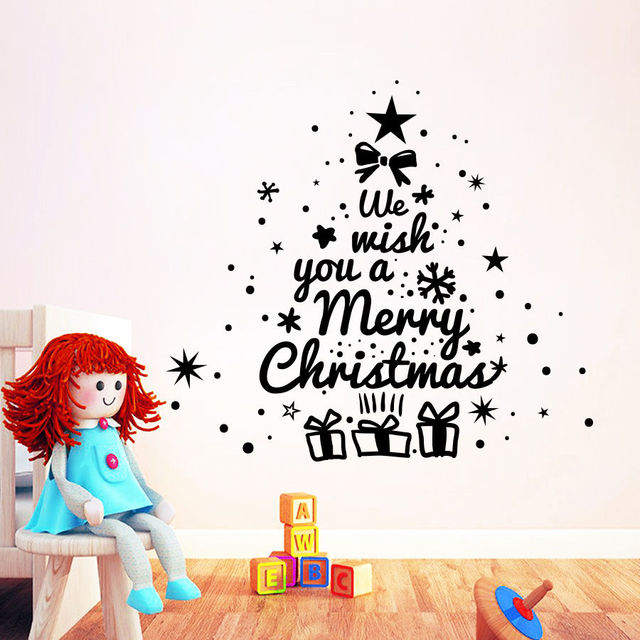 merry christmas enlish quotes christmas tree wall sticker vinyl wall decals for home christmas art decoration