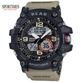 SPORTIMES Men Sports Military Watch With Water Resistant Stop Watch Alarm And Large Dual Time Watch In Khaki School Men Watches