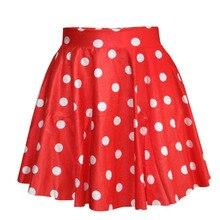 4513a2ef37f 1 pièce doux Bleu Rouge Noir Blanc Femmes numérique imprimer Polka Dot  Taille Haute Vintage Patineuse