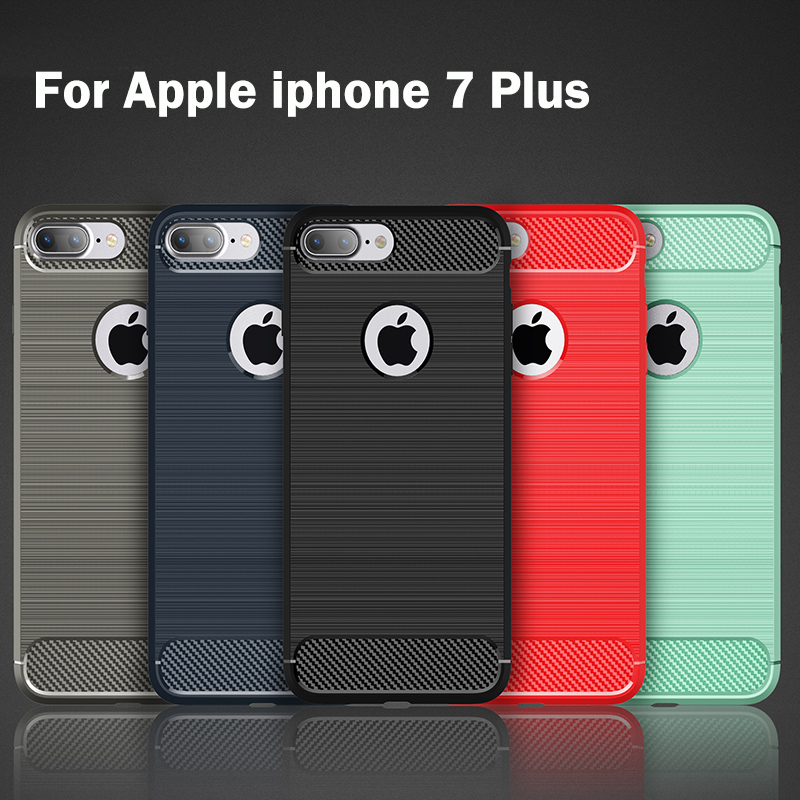 Cases for Apple iphone 7 Plus Silicon Soft TPU Thin Back Cover for iphone 7plus iphone7plus black Pure color phone housing