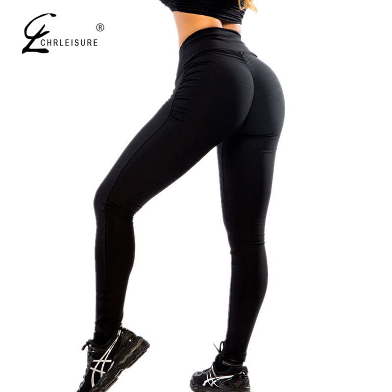 CHRLEISURE Sexy Push Up Leggings neri Moda donna Vita alta Allenamento Leggings in poliestere Jeggings Slim Legging
