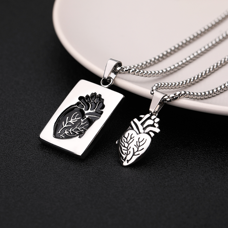 Puzzle Jewelry Couple Collares Anatomical Heart Necklace Women Valentine Day Gift Stainless Steel Chain Pendant Collares 2019