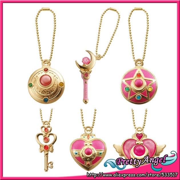 Original BANDAI Sailor Moon 20th Anniversary Gashapon Die-cast Charm Stick Wand Part 1 key chain Set of 6 PCS moon flac jeans