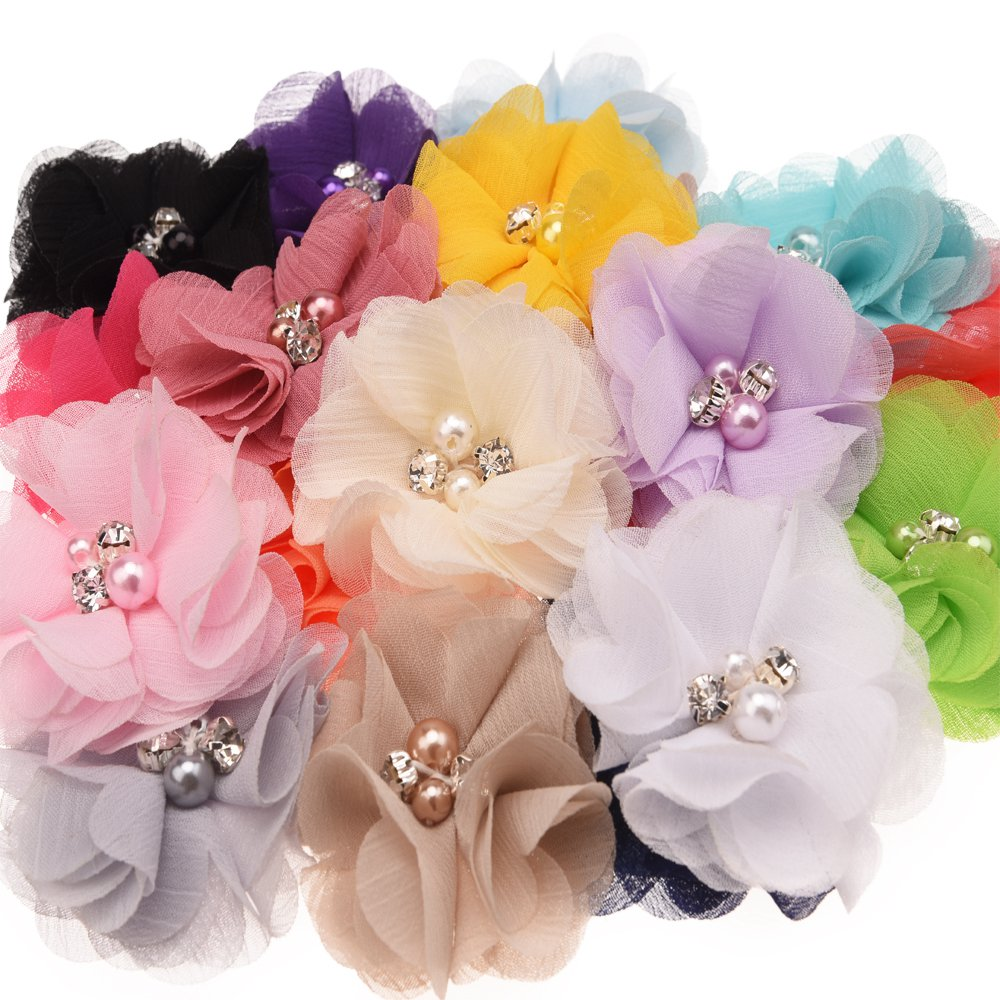 HARU 18PCS Pearl Rhinestone Chiffon flowers Hair Accessories DIY Bouquet