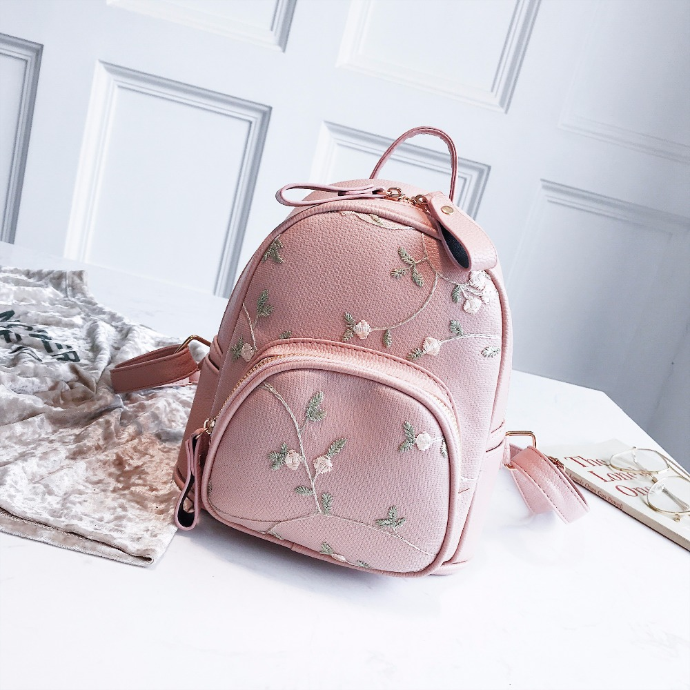 5c183cd3d688 Lace Small Mini Backpacks Women Leather Backpack Flower Floral Backpacks  For Teenage Girls Ladies Female Shoulder School Bags-in Backpacks from  Luggage ...