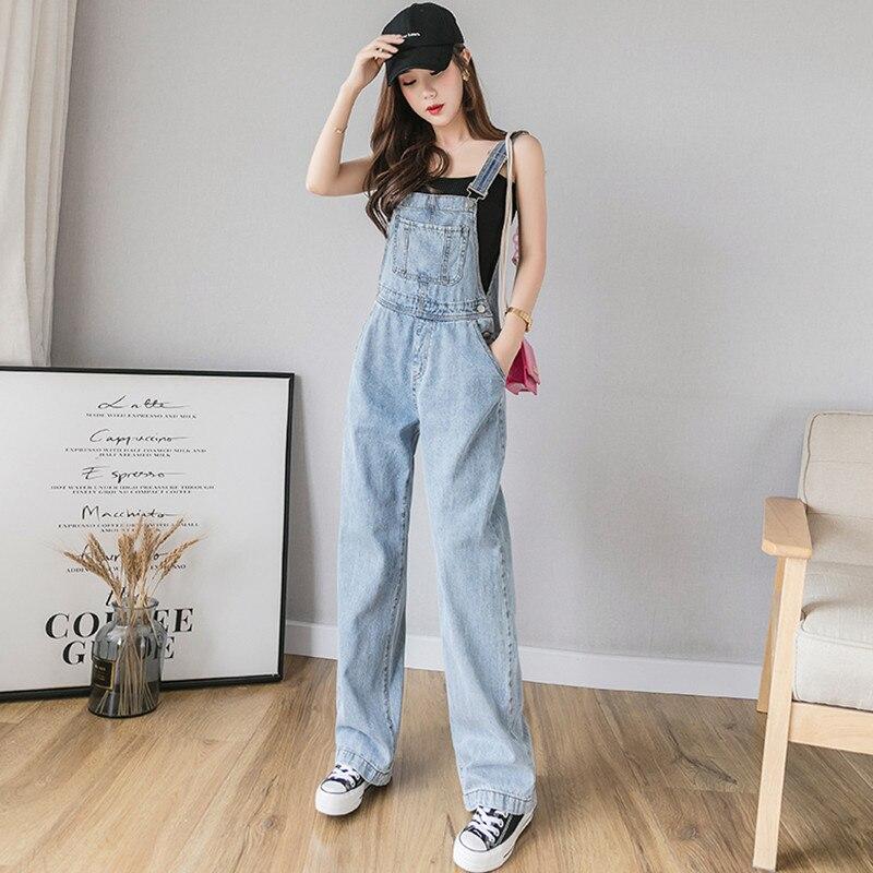 Summer Denim Jumpsuit Women Casual Front Pocket Design Jeans Overalls Rompers Ladies Wide Leg Jumpsuits combinaison femme(China)