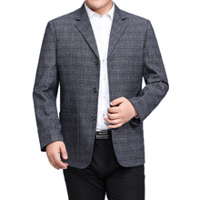 WAEOLSA Man Plaid Blazer Gray Khaki Check Pattern Suit Jacket Mature Men Casual Blazers Hombre Coat Chinese Style Outfits