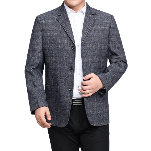 WAEOLSA Man Plaid Blazer Gray Khaki Check Pattern Suit Jacket Mature Men Casual Blazers Hombre Suit Coat Chinese Style Outfits