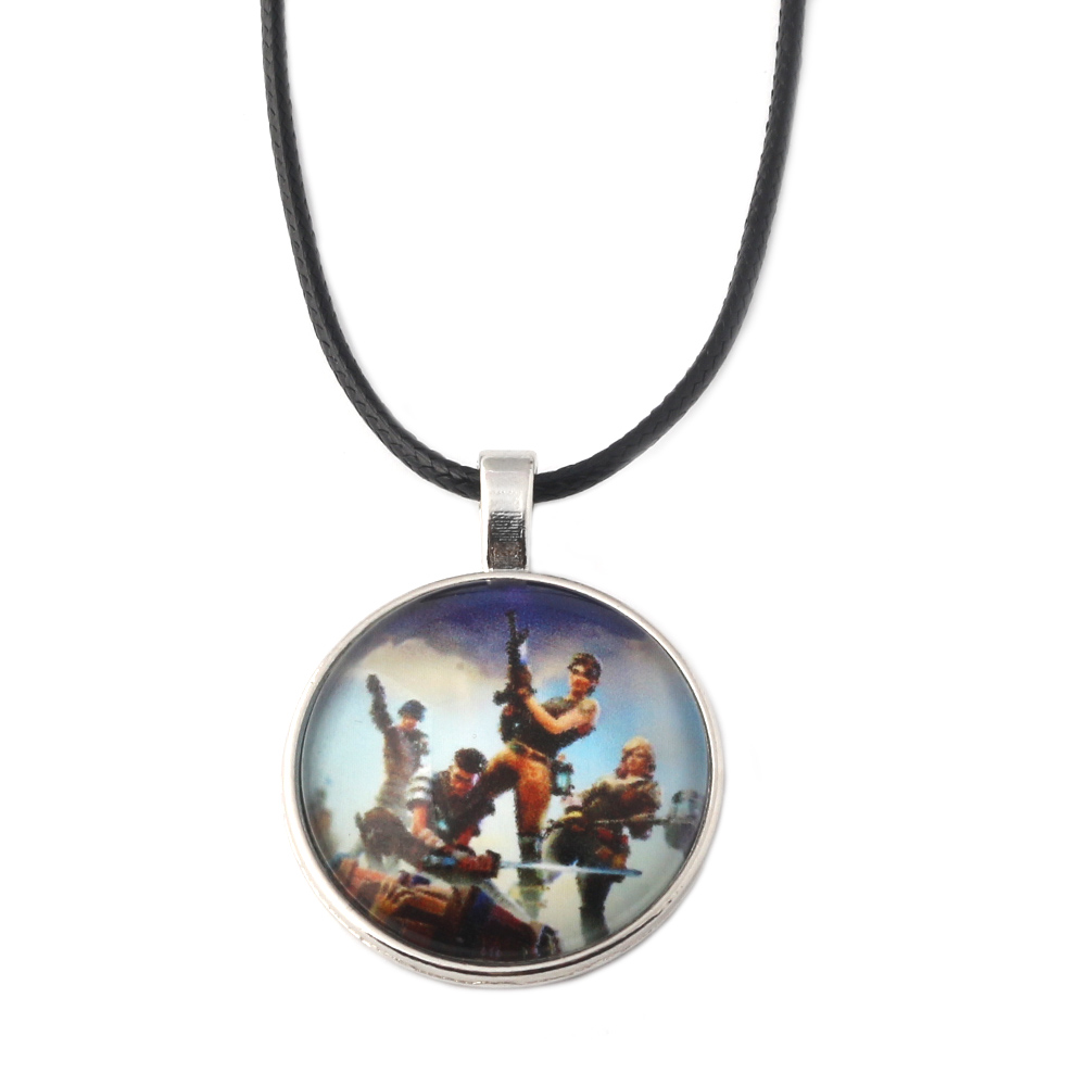 FPS Game Fortnite Battle Royale Necklace Time Gem Fortnite Figures Cover Glass Leather Rope Pendant Chokers