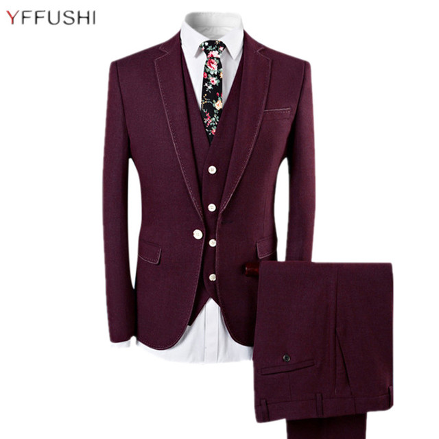 YFFUSHI 2018 Nouveau Hommes Costume Homme Mariage 3 Pièces Vin Rouge  Costumes Smoking Hommes De Mariage a48f35c382a