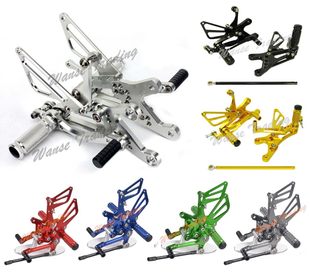Waase CNC Adjustable Rider Rear Sets Rearset Footrest Foot Rest Pegs For Yamaha YZF R1 2002 2003