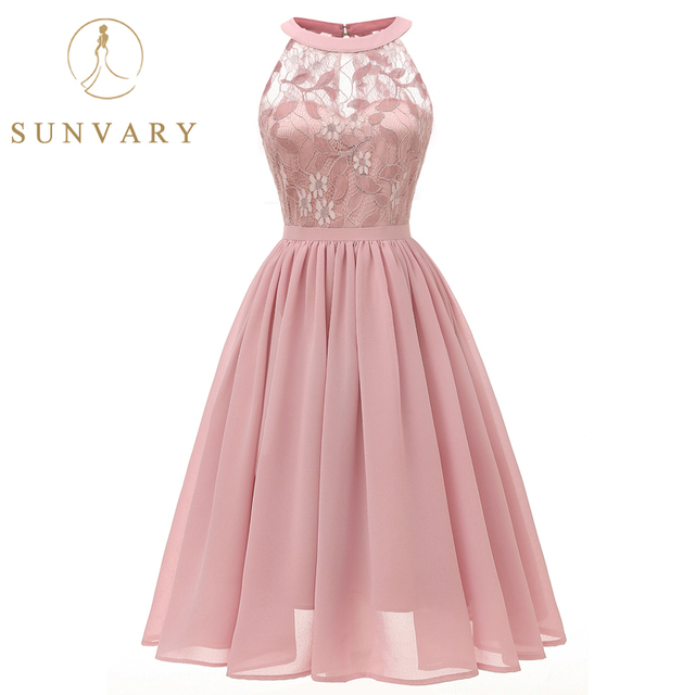 Sunvary Summer Lace Party Dress Plus Size Illusion Back Pleated Knee-length Homecoming Dress Women Chiffon Dress for Party Girl