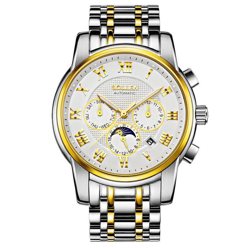 SOLLEN 41mm between Gold face automatic mechanical watch steel belt male watch 24 hours a week
