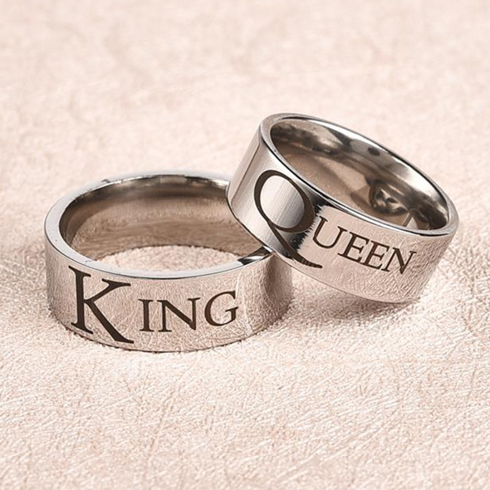 Obsede Couple Rings Titanium Steel King Queen Ring Personality