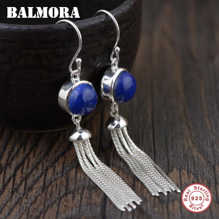 BALMORA 925 Sterling Silver Lapis Lazuli Drop Earrings for Women Retro Elegant Tassel Earrings Fashion Jewelry Brincos TRS30738 цены онлайн