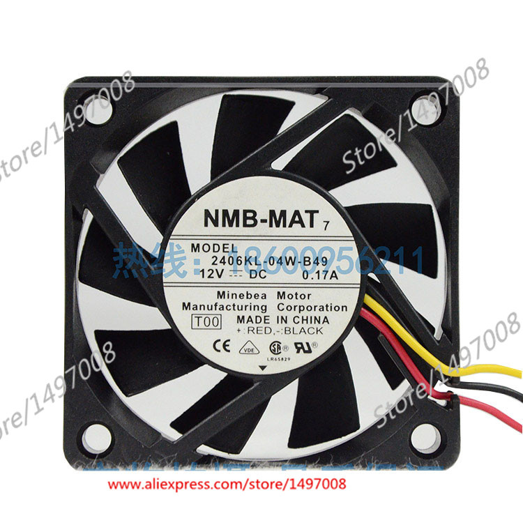 NMB-MAT  2406KL-04W-B49, T00  DC 12V 0.17A    60x60x15mm Server Square fan nmb mat 3110kl 04w b49 b02 b01 dc 12v 0 26a 3 wire server square fan