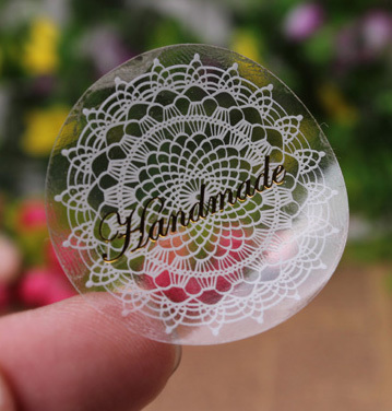 50pcs/lot White Lace Seals Stickers, PVC Hand Made Gift Sticker (ss-215)