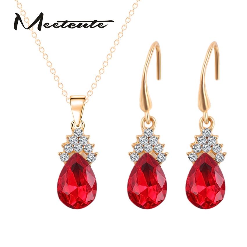 Meetcut Luxury 3 Type Costume Sets Of Jewelry Sets Crystal Zircon Necklace Earrings Wedding Decorations For Women Bijouterie Set