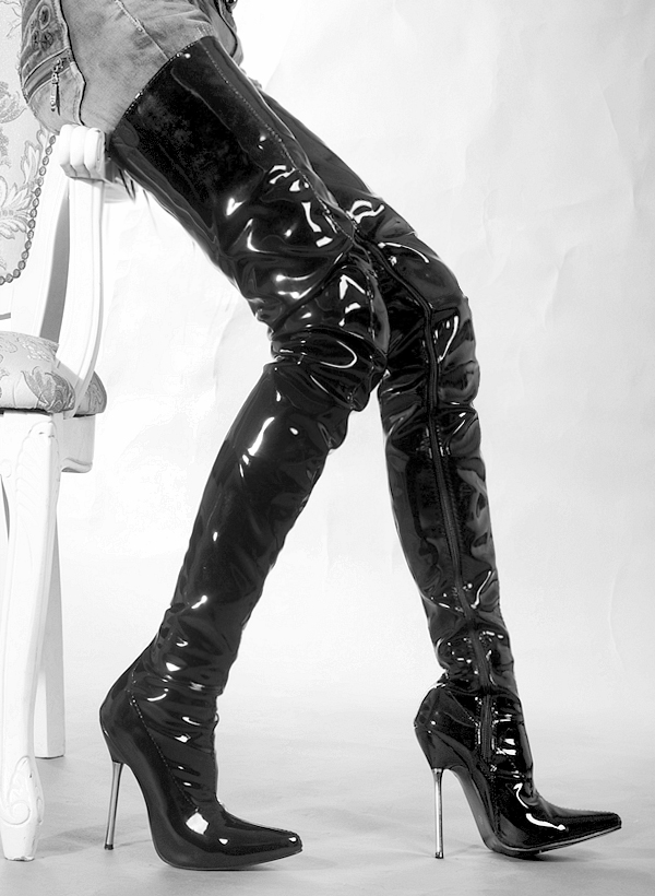 Extreme high heel 13cm High Heel overknee boots shiny patent leather thigh  crotch boots metal heels black color Cosplay boots конкор ам 5 мг плюс 5 мг n30 табл