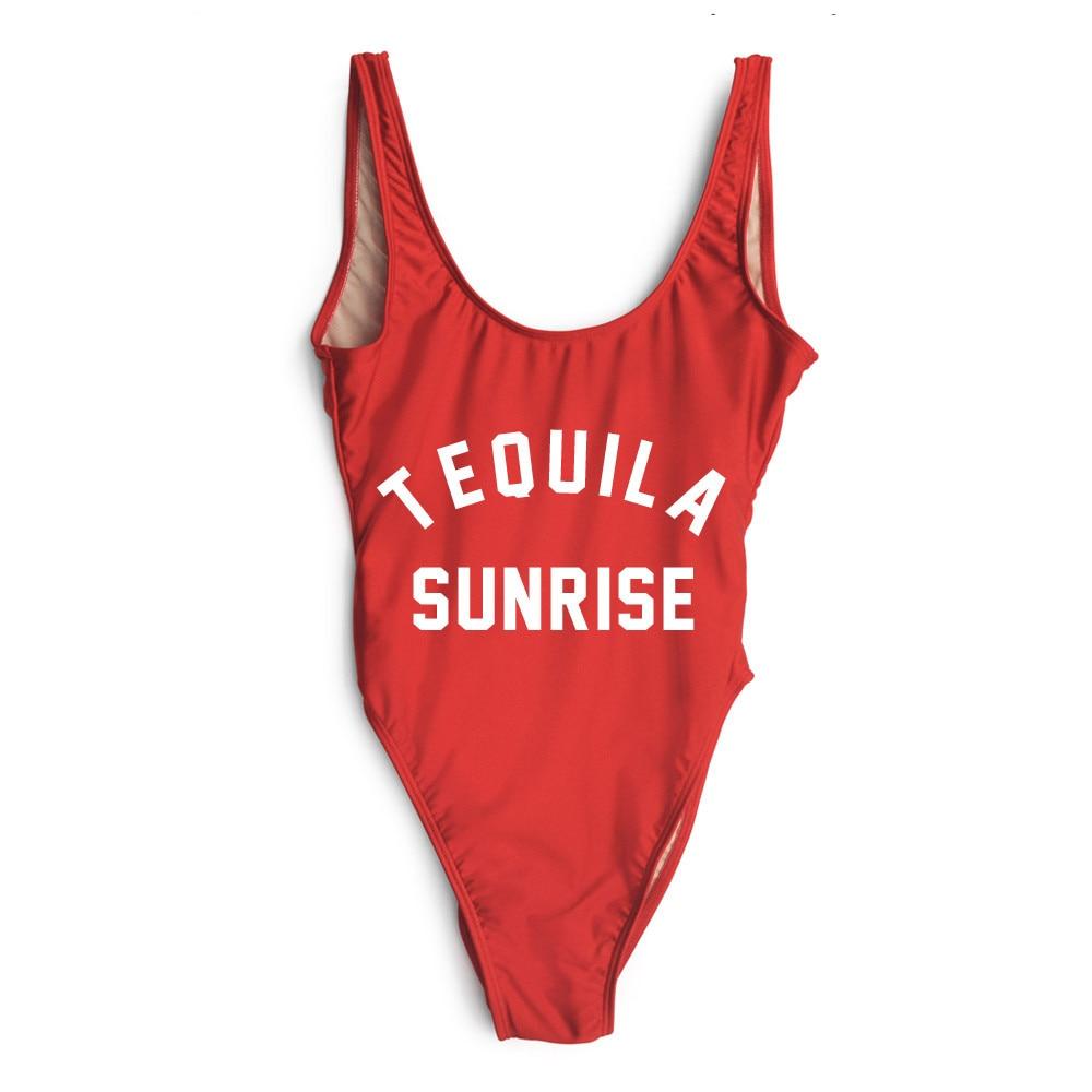 TEQUILA SUNRISE SWIMSUIT Form-fitting Low back High-cut Women one piece bodysuit swimwear bathing suit Jumpsuit Letter Customn