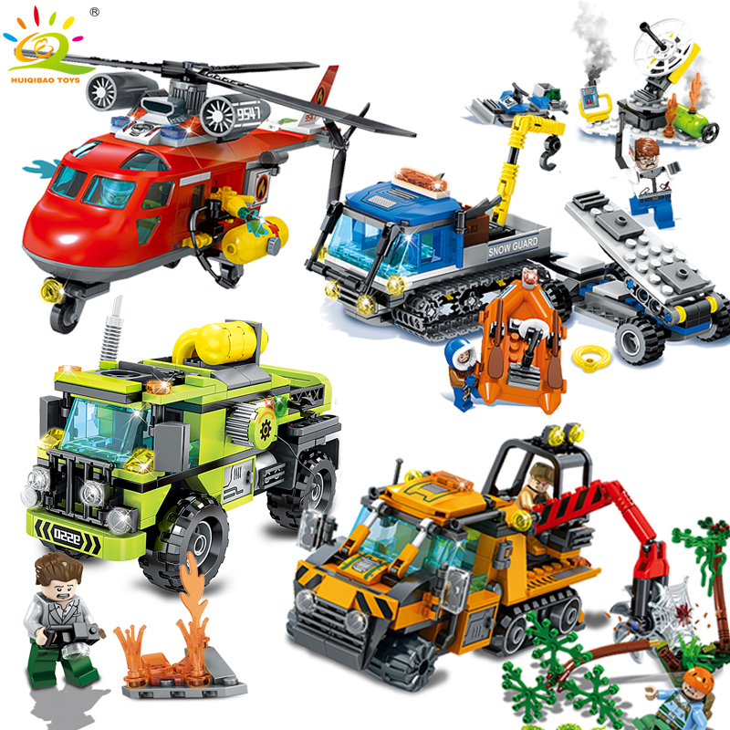 Police Firefighter Helicopter Engineering car Building Blocks Compatible Legoed City Rescue team classic Enlighten Children toys