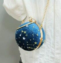 Angelatracy 2019 New Velvet Velour Starry Sky Hot Embroidery Metal Circular Chain Women Minaudiere Shoulder Wristlets Ball Bag