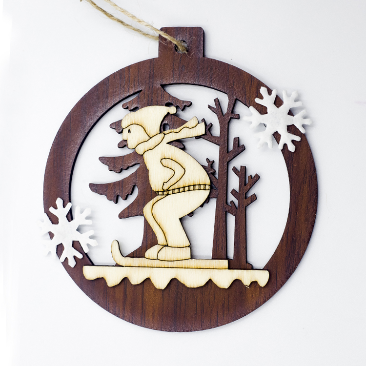 Cute Cartoon Smile Elk Wooden Ornament Christmas Tree Decoration Hanging Pendant Xmas Party Decor for Home Kids Gift Animal 2020 45