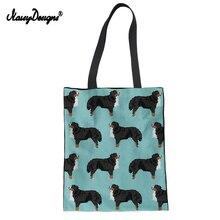NoisyDesigns, Холщовая Сумка, женская сумка для покупок, Bernese, 3D, смешная собака, с принтом, большая, для женщин, Экологичная, сумка на плечо для подростков